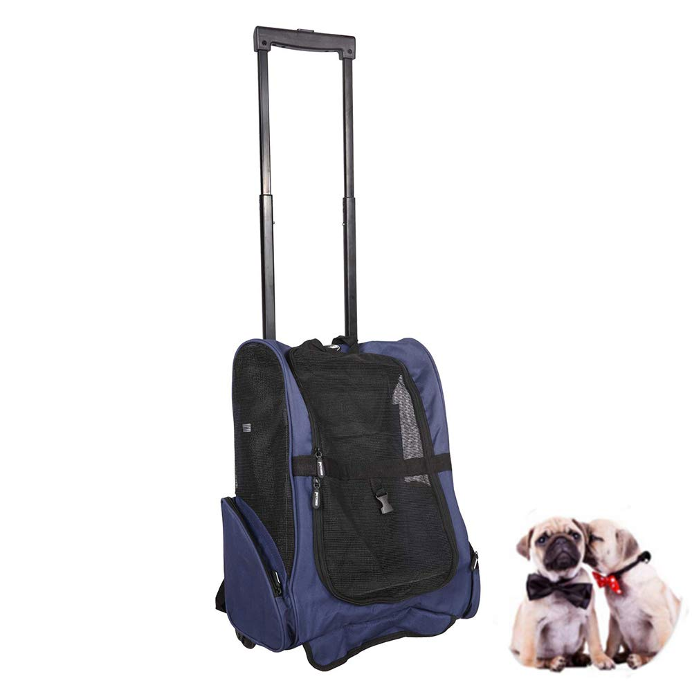 LEMKA Pet Rolling Carrier Backpack Wheel Around 4-in-1 Pet Travel Carrier,Airline Approve Dog Carrier for Indoor & Outdoor Use (19'' L x 14'' W x 12'' H, Dark Blue)