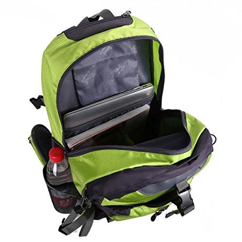 HWJIANFENG 40L Mochilas de Senderismo Hombre Portatil Impermeable de Nilon Mochilas de Excursion para Viajes Mochilas Unisex de Ciclismo Verde