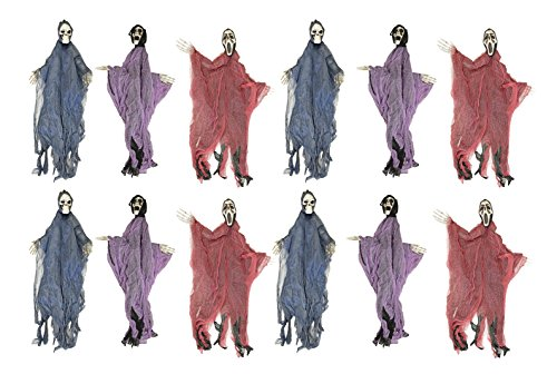 Set of 12 Hanging Hooded Skeletons With Bendable Movable Arms! Perfect for Your Next Halloween Gathering!