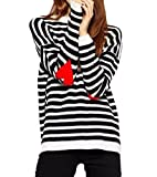 Persun Women's Stripes Heart Pattern Long Sleeve Knit Jumper Sweater
