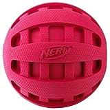 Nerf Dog Checker Squeak Rubber Ball Dog Toy, Small/Medium, Red