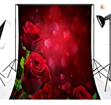LB 5x7ft Valentine's day Mother's Day Vinyl Photography Backdrop Red Rose Petal Flower Romantic Customized Photo Background Studio Prop QRJ331
