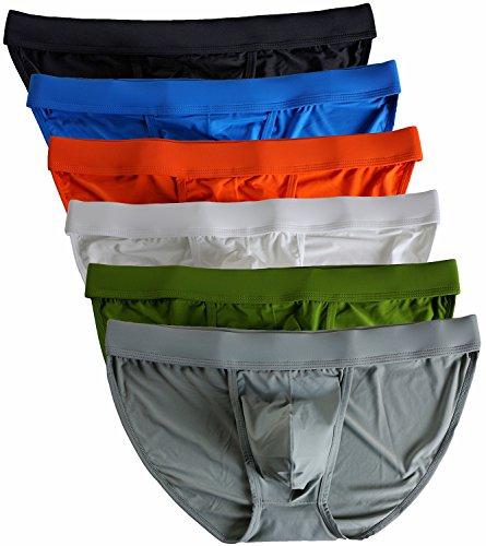 Men's Seamless Briefs Silk Soft Bulge Bikini Sexy Underwear 6 Pack Medium (Silk Pouch Brief)
