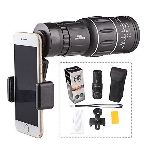 Luerme 16x52HighPowerTelescope OutdoorCampingHikingConcertSoccer Game MonocularZoomTelescopeBAK4 Prism MobilePhone CameraClip PictureTakingTelescope Binoculars (Telescope+Universal Clip) -