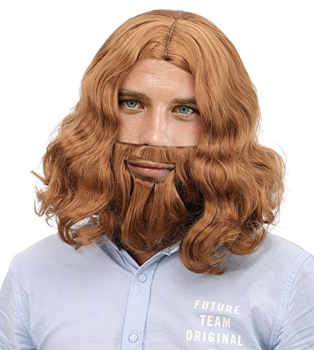 Beard Full Light (Simplicity Jesus Brown Full Wavy Wig With Beard Set and Free Wig Cap,Light Brown)
