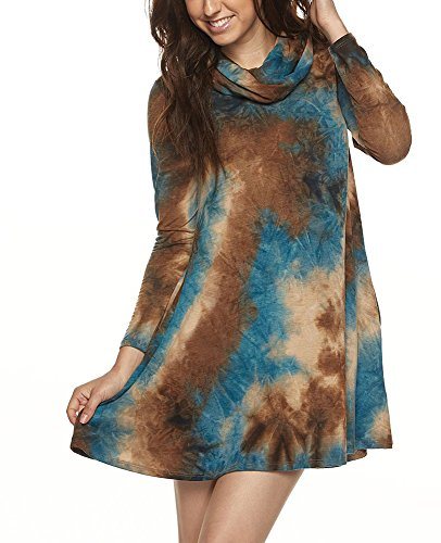 Tendzi Trends Plus Size Tie Dye Cowl Neck Long Sleeve Tunic Dress with Pockets (2X)