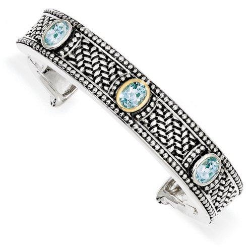 Icecarats Créatrice De Bijoux En Argent Sterling W / 14K 4.80Sky Bracelet Bleu Topaze Brassard De 7 Pouces