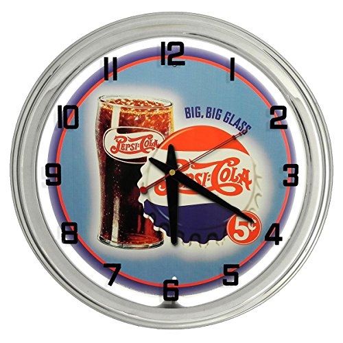 (Vintage Pepsi-Cola White Neon clock from Redeye Laserworks)