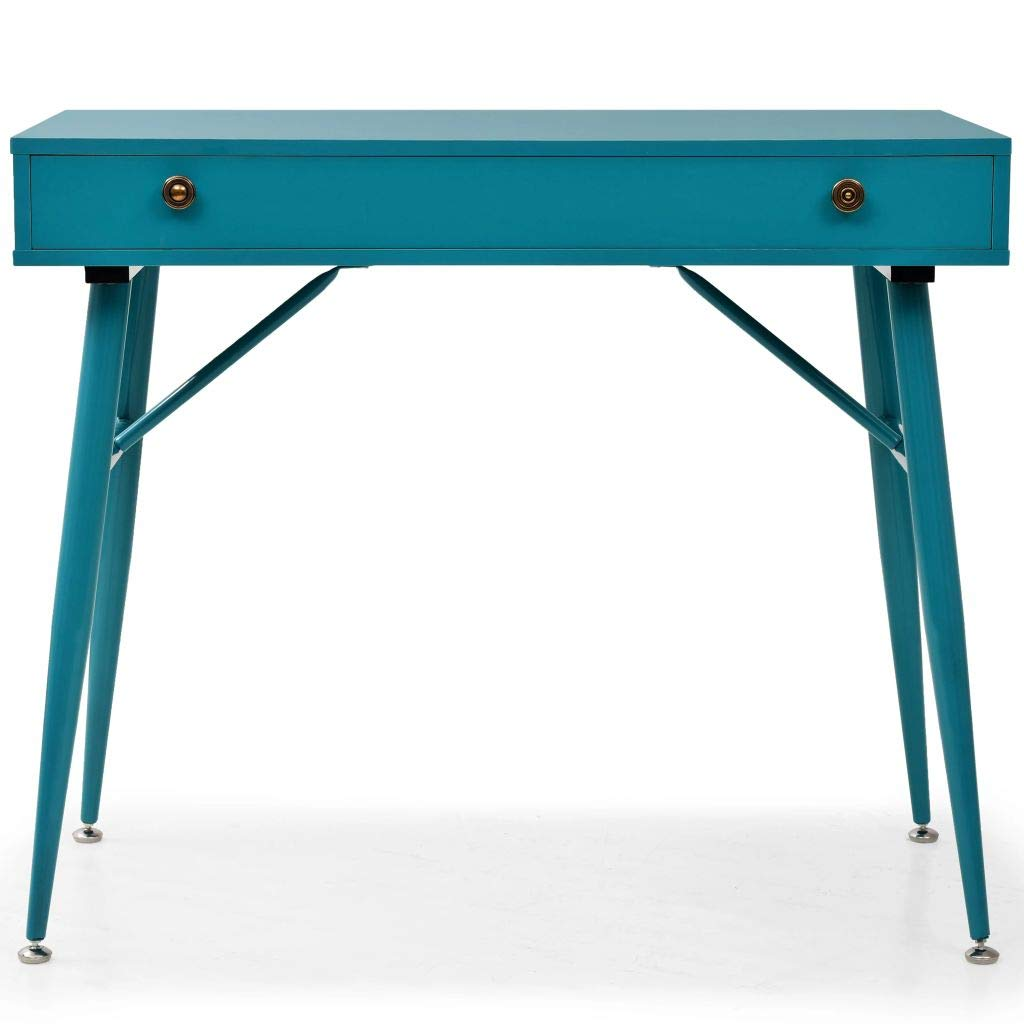 Antique Green Festnight Retro Writing Desk Vintage Computer Laptop Table with Drawer and Steel Legs 90x50x76.5 cm