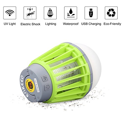 ENKEEO 2-in-1 Camping Lantern Mosquito Killer Tent Light - Portable IPX6 Waterproof Bug Zapper LED Lantern with 2000mAh Rechargeable Battery, Retractable Hook, Removable Lampshade, Green