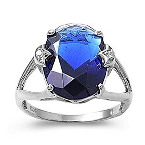 LARGE Sterling Silver SIMULATED BLUE SAPPHIRE OVAL CLEAR CZ Ring
