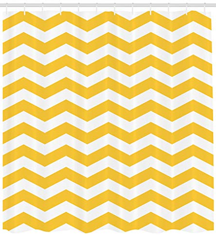 Ambesonne Yellow Chevron Shower Curtain, Modern Summer Season Pattern Zigzag Tile Design Wavy Horizontal Motif, Fabric Bathroom Decor Set with Hooks, 84 Inches Extra Long, Yellow and White