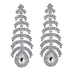 Style E-Silver Plated Crystal Rhinestone Chandelier Dangle Earring