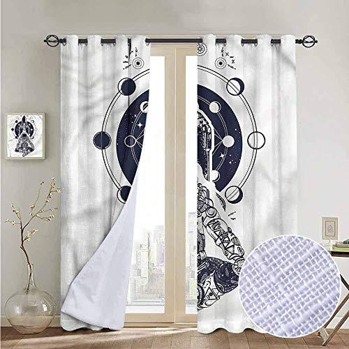 fengruiyanjing Windows Decor Curtain Panel Custom Panels for Girls Boys, Moon Phases, Space Shuttle Astronaut 84