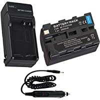 Battery + Charger for Sony MVC-FD85, MVC-FD87 Camcorder