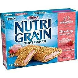 Kellogg\'s, Nutri-Grain Breakfast Bars, Strawberry Greek Yogurt, 8 Count, 10.4oz Box (Pack of 4)