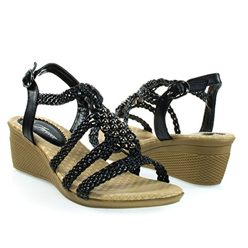 Espadrille Woven Open Toe Wedge Sandal w Beaded Gladiator Cage Strap Black Jeuixv