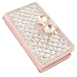 EVTECH(TM) Crocodile Series Luxury Crystal Diamond Bling Design Pink PU Wallet Leather Cover Case for Samsung Galaxy S III Mini / S3 Mini i8190 (100% Handcrafted)(Wallet case-A3) by EVTECH