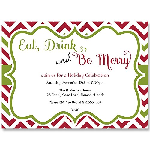 (Christmas Party Invitations, Happy Holidays, Red, Green, Chevron, Set of 10 Printed Cards with white Envelopes,, Eat Drink and Be Merry)