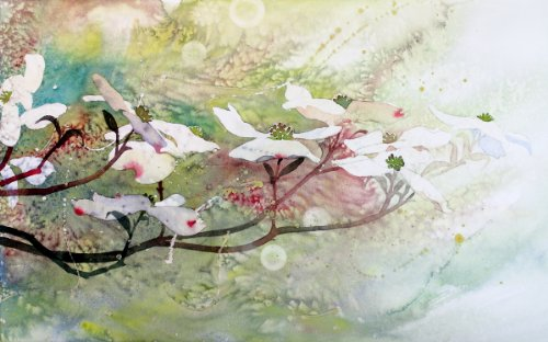 Dogwood in Spring 2, Canvas Art Dogwood Tree Blossoms, Giclée Print, 20 X 32 Inches (Wood Susan Branch)