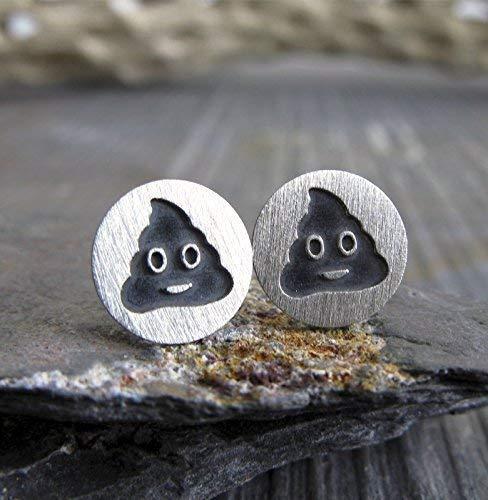 - Poop emoji stud earrings in brushed sterling silver. Handmade in the USA.