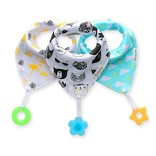 Baby Bandana with Bibs Teether Toys - 3-pack ,Made with 100% Organic Cotton, Super Absorbent and Soft (Unisex) ()