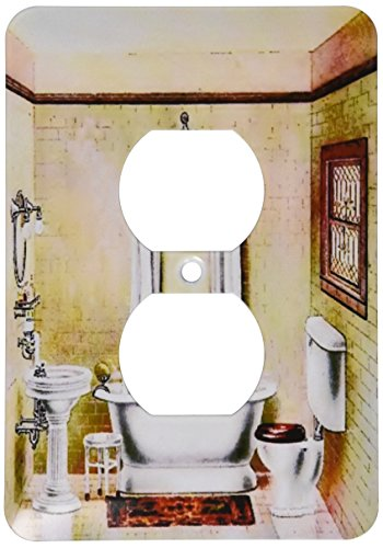 3dRose lsp_62536_6 Picture Of Painting Of A Victorian Bathroom Plug Outlet Cover