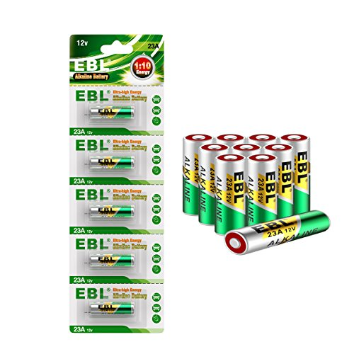EBL 10 Pack A23 23A GP23AE MN21 23GA 12V Alkaline Battery for Doorbells Remote Control Keyless Entry Access Control Devices