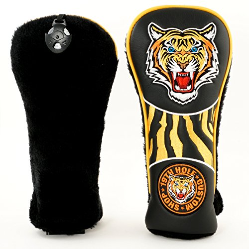 19th Hole Custom Shop Tiger Retro Style Fairway Metal Woods Headcover, Black, Golf Head Cover