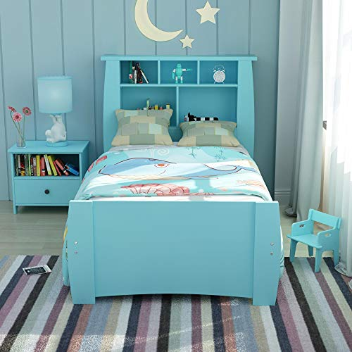 - Harper & Bright Designs Platform Bed for Kids Wood Twin Bed Frame with Bookcase Storage Headboard (Blue)