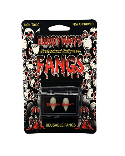[Vampire Teeth By Bloody Mary - Fake Fangs Ideal For Halloween & Theatrical Performances - Reusable With Permanent Molding Material - Special Effects Realistic Pointy Teeth] (Retractable Vampire Fangs)