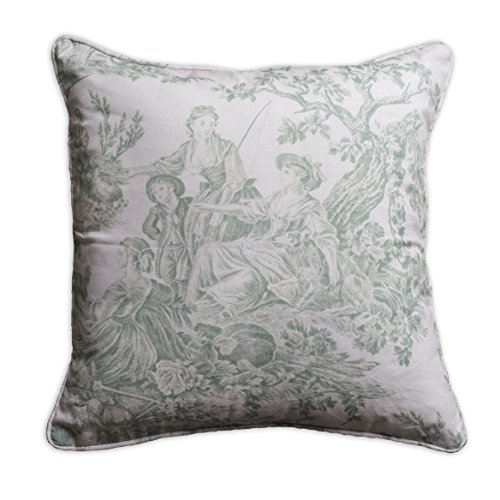 (Maison d' Hermine The Miller 100% Cotton Toile Antique Green Decorative Pillow Cover 20 Inch by 20 Inch)