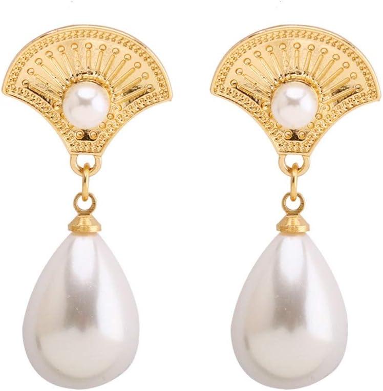Casa perfetta Europa y los Estados Unidos Pendientes de Perlas Grandes Pendientes Elegantes abanicos joyería S925 Plata Accesorios de Vestir de Aguja