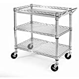 Heavy-Duty Cart Kitchen Rolling Storage Island Utility Portable Top New Microwave Table Shelf Stand Mobile Shelves Seville Classics