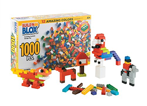 Build'n Blox Creative Building Blocks Building Bricks -Educational Classic Build Learning Toys Kids -12 Colors 14 Different Shapes - Gift Birthday Holidays | 500 1000 Pieces Leading Brands Compatible