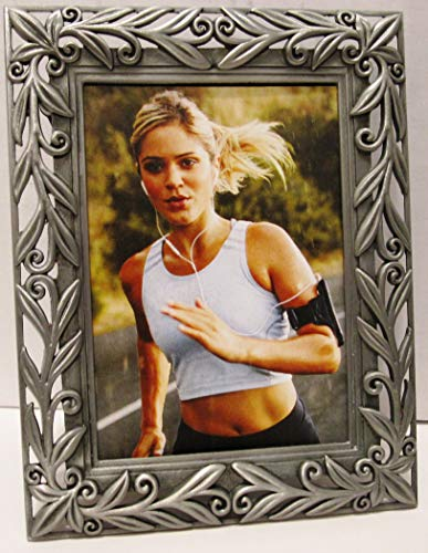 EXP 2.5 x 3.5 Pewter with Leaves Leaf Design Picture Photo Frame