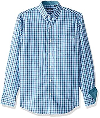 IZOD Men's Premium Essential Plaid Long Sleeve Shirt (Regular and Slim Fit)