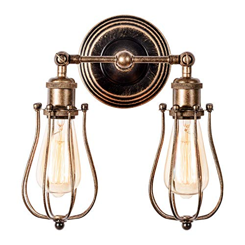 GLADFRESIT Vintage Wall Sconce 2 Lights , Rustic Metal Wire Cage with Ceramic Holder Industrial Lighting Adjustable Wall Lamp for Indoor Bedroom Farmhouse (Bulb Not Included) (Bronze)