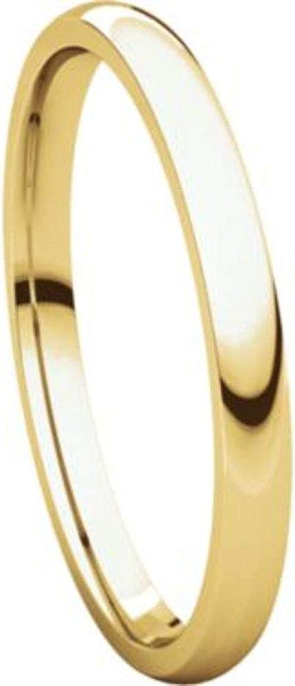 Bonyak Jewelry 18k Yellow Gold 2.5 mm Lightweight Comfort-Fit Band Size 9