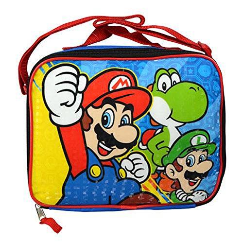 Nintendo SD30954UPRE00 Mario, Luigi, and Yoshi Rectangle Lunch Bag with Strap Kit, 1 ()