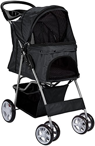 Paws & Pals Pet Stroller Cat/Dog Easy Walk Folding Travel Carrier Carriage, Onyx Black For Sale