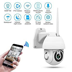 WiFi Security Camera Outdoor, Womdee WiFi IP Camera 1080p Wireless Waterproof Security Dome Camera Pan/Tilt/Zoom Camera with Night Vision, 2 Way Audio, Motion/Sound Detection, Works on Smart Phones