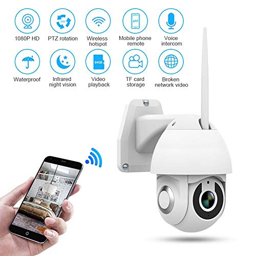 HAMKAW PTZ WiFi IP Camera 1080P HD Outdoor Wireless CCTV Security Dome Camera 2.4G WiFi Camera, IP66 Weatherproof IR Night Vision Motion Detection Two-Way Audio Records