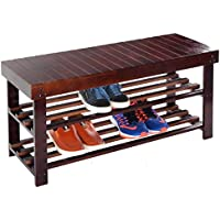 Dark Brown Wood Slatted Shoe Storage Bench Seat Entryway Closet Organizer