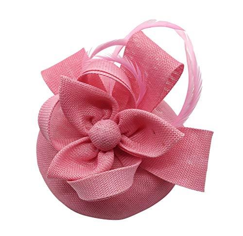 - Ahugehome Fascinator Hats for Women Feather Headband Fascinators Pillbox hat Wedding (H Pink)