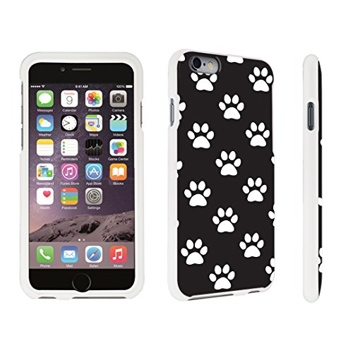 (DuroCase ® Apple iPhone 6 Plus - 5.5 inch Hard Case White - (Paw Print Black))