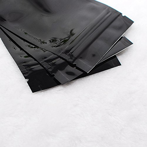 "(100/Order) Smooth Black Double-Sided Foil Mylar Resealable Top Lock Bags Exterior Size 7.5x10cm (3x4"")"