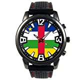 Timest - Central Africa Country Flag - Mens Black Jelly Silicone Wrist Watch Round Analog Quartz SF041
