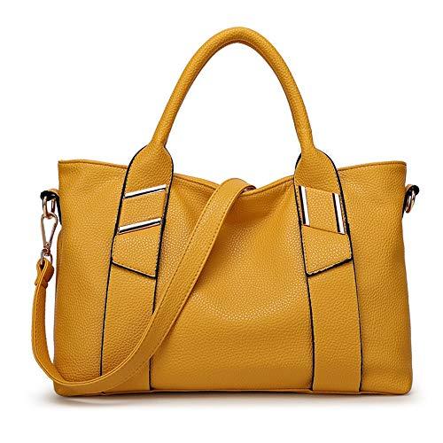 Amarillo Totalizador Salvaje Mujer De Diagonal Gran Hombro Portátil color Otoño E Europa Invierno Amarillo Moda Bolsa Y Capacidad América qwqrUZE