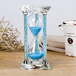 BORWAY 60 Minute Hourglass Timer, Heart Shaped Sand Timer with Sparkling Pillars, Eye-Catchy Blue Sands Clock for Home Kitchen Office Décor Christmas Gift (60 Min, Blue, 1 Pack)